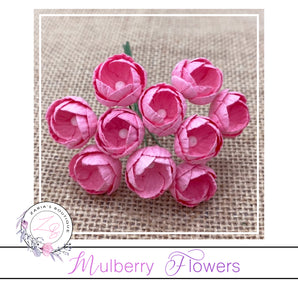 Mulberry Paper Buttercups ~ Bright Pink ~ 25mm x 10 pieces