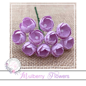 Mulberry Paper Buttercups ~ Lilac ~ 25mm x 10 pieces