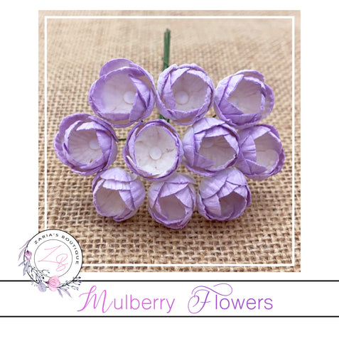 Mulberry Paper Buttercups ~ Two-Tone Lilac ~ 25mm x 10 pieces
