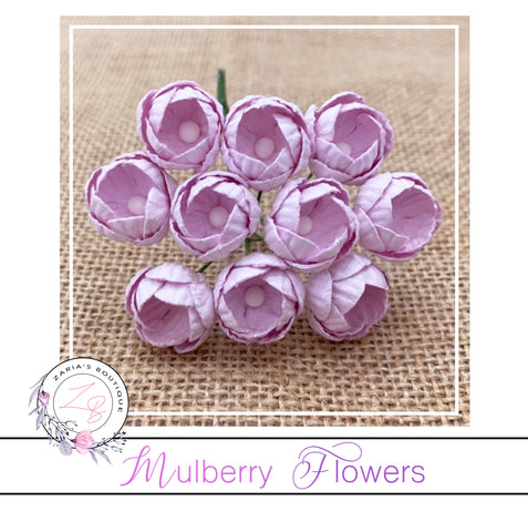 Mulberry Paper Buttercups ~ Pale Lilac ~ 25mm x 10 pieces