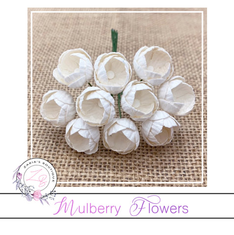Mulberry Paper Buttercups ~ Ivory ~ 25mm x 10 pieces