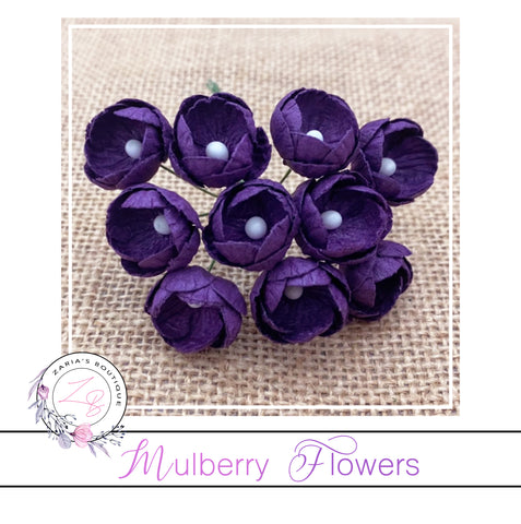 Mulberry Paper Buttercups ~ Deep Purple ~ 25mm x 10 pieces