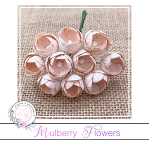 Mulberry Paper Buttercups ~ Pale Peach ~ 25mm x 10 pieces