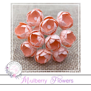 Mulberry Paper Buttercups ~ Peach ~ 25mm x 10 pieces