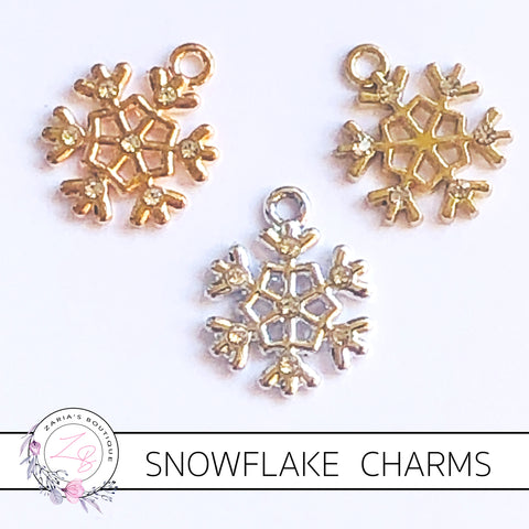 Crystal Snowflake Charms  ~ Quality Metal Embellishments ~ 3 Designs