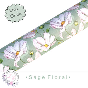 ⋅ Sage Floral ⋅ Green Vegan Faux Leather