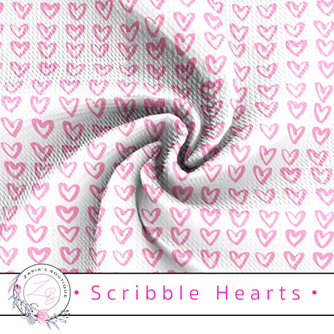 ⋅ Scribble Hearts ⋅  Bullet/Liverpool Stretch Fabric