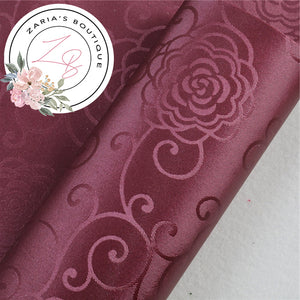 Burgundy ~ Floral Scroll Faux Leather  ~ 0.80mm