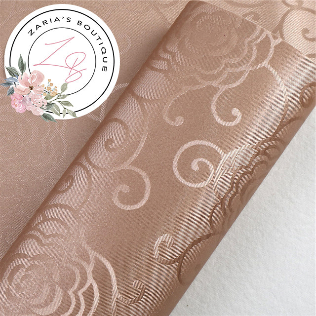 Caramel ~ Floral Scroll Faux Leather  ~ 0.80mm