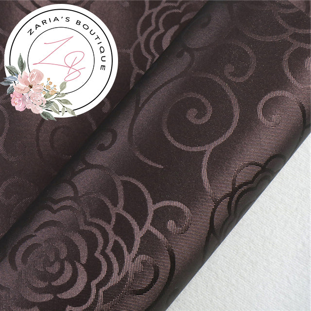 Chocolate Brown ~ Floral Scroll Faux Leather  ~ 0.80mm
