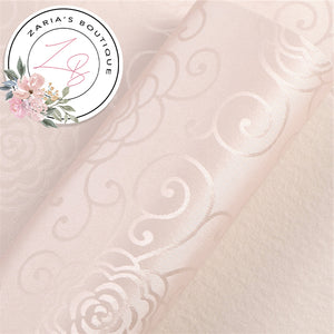 Blush Pink ~ Floral Scroll Faux Leather  ~ 0.80mm