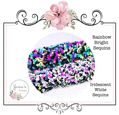 Iridescent Sequin Bow Fabric ~ White or Rainbow Brights