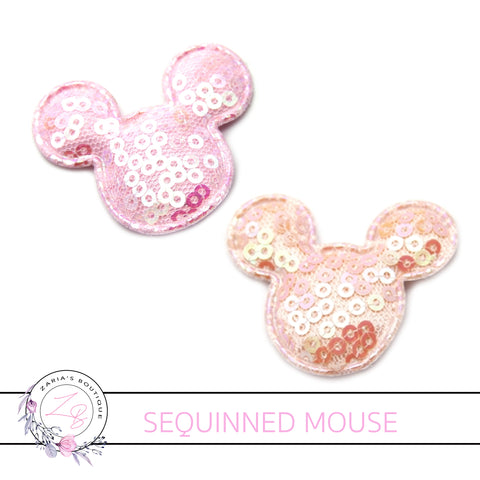 Mouse Head Pastel Sequinned Applique Embellishment x 2