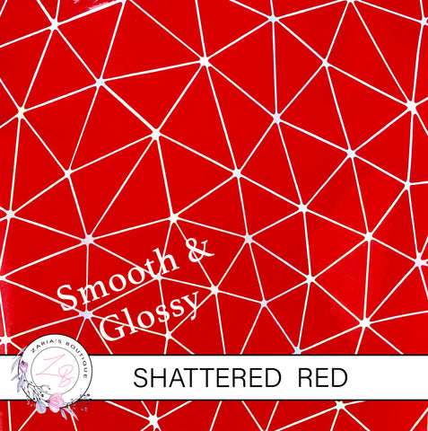 Shattered Red Holographic ~ Faux Leather ~ 1mm