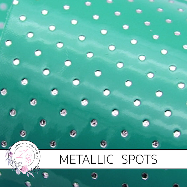Jade Green Silver Spots ~ Textured Metallic Faux Leather