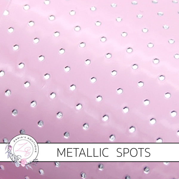 Metallic Silver Spots ~ Pink ~ Faux Leather