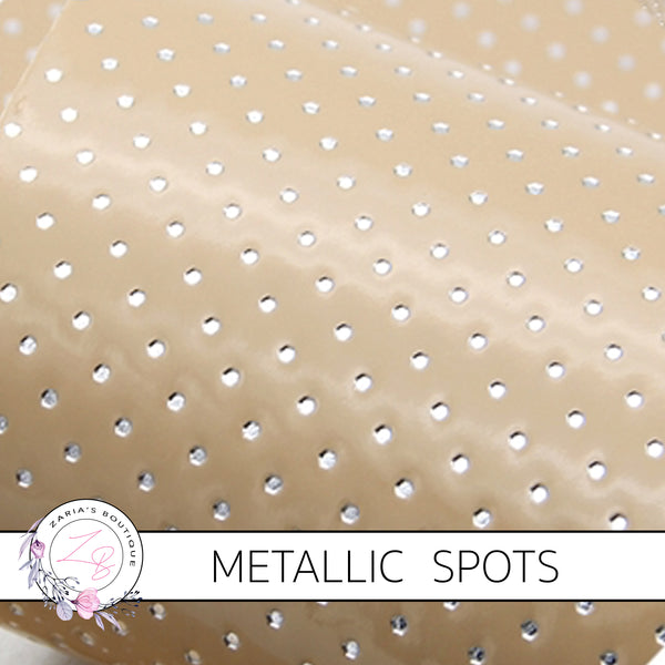 Caramel Silver Spots ~ Textured Metallic Faux Leather