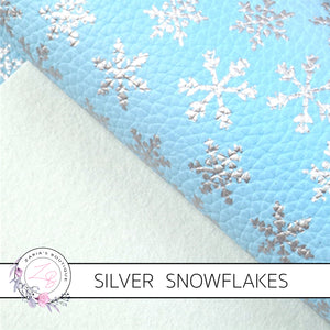 Snowflake Collection ~ Blue Silver Foil Snowflakes Leatherette Fabric