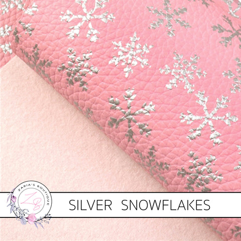 Snowflake Collection ~ Pink Silver Foil Snowflakes Leatherette Fabric