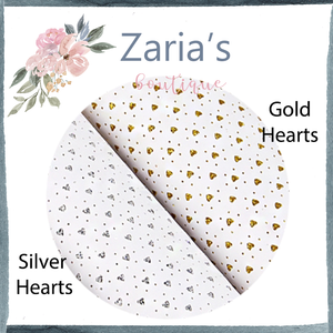 White Faux Leather GLITTER Hearts ~ Silver OR Gold