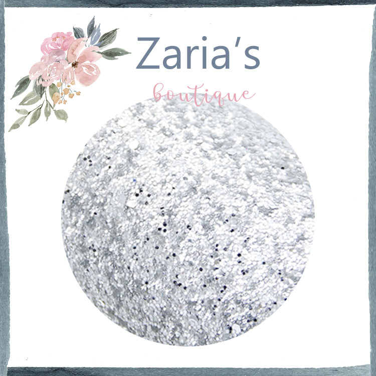 Silver ~ Medium Glitter Faux Leather Fabric Sheets