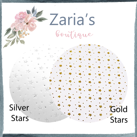 White Faux Leather GLITTER Stars ~ Silver OR Gold