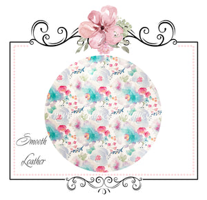 Watercolour Floral Smooth Faux Leather