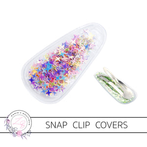 Multicolour Star-Filled Snap Clip Covers ~ 5cm ~ 2 pieces