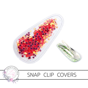 Red Star-Filled Snap Clip Covers ~ 5cm ~ 2 pieces