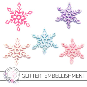 Snowflake Glitter Embellishments x 2 pieces ~ 5 Colours
