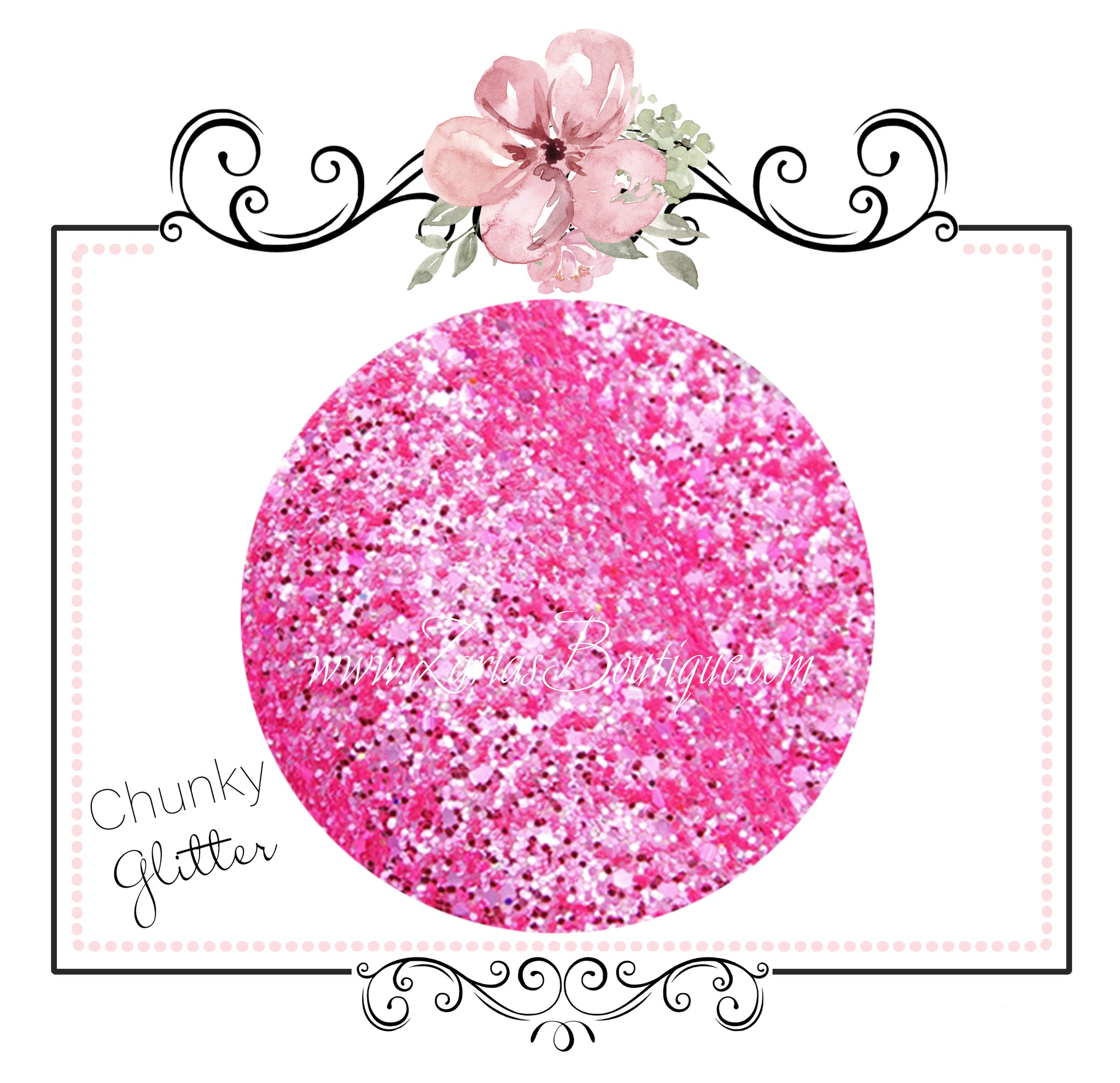 Sparkle Pink ~ 20 x 34cm ~ Chunky Glitter Faux Leather Fabric Sheets