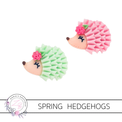 Spring Hedgehogs  ~ Flatback Bow Embellishments ~ Pink or Green ~ 2 pieces