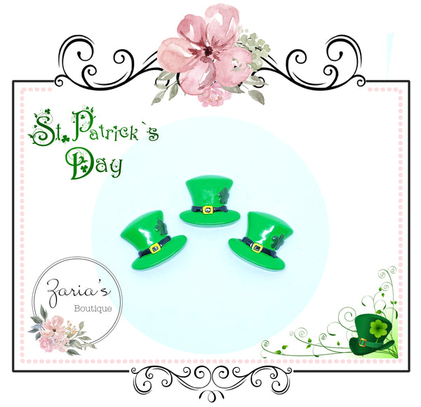 St Patrick's Day ~ Green Leprechaun Hat ~ Resin Embellishment 1 or 3 piece pack
