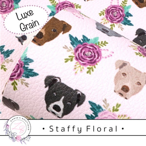 • Floral Staffy • Vegan Luxe Grain Faux Leather Dog Print