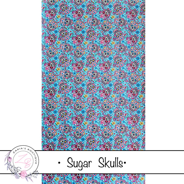 Blue Sugar Skulls ~ Vegan Faux Leather ~ 0.85mm