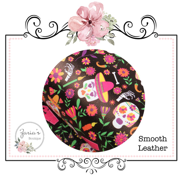 Smooth Faux Leather Sugar Skulls ~ Floral