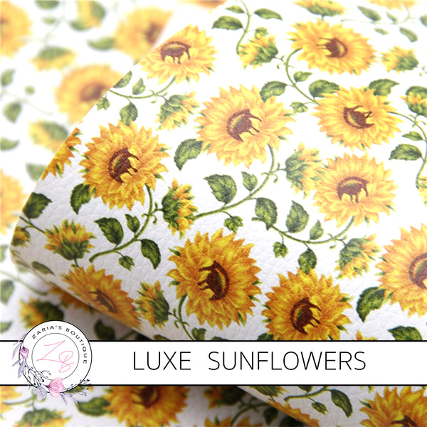 Sunflowers ~ Faux LUXE Grain Leather Yellow Floral