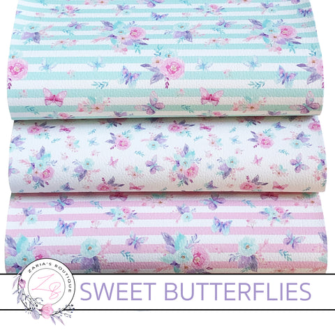 Custom Sweet Butterfly Floral Stripe Vegan Faux Leather Designer Multi-Pack or Single Sheets