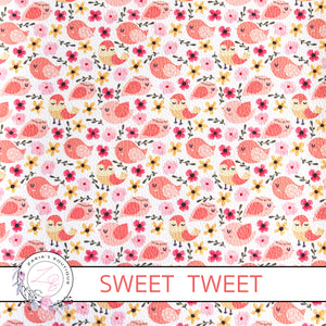 Custom Sweet Tweet Orange Peach Bird Floral Vegan Faux Leather