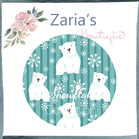 Snowflake Collection ~ Printed Canvas Sheets ~ Teal Snowflakes & Polar Bears