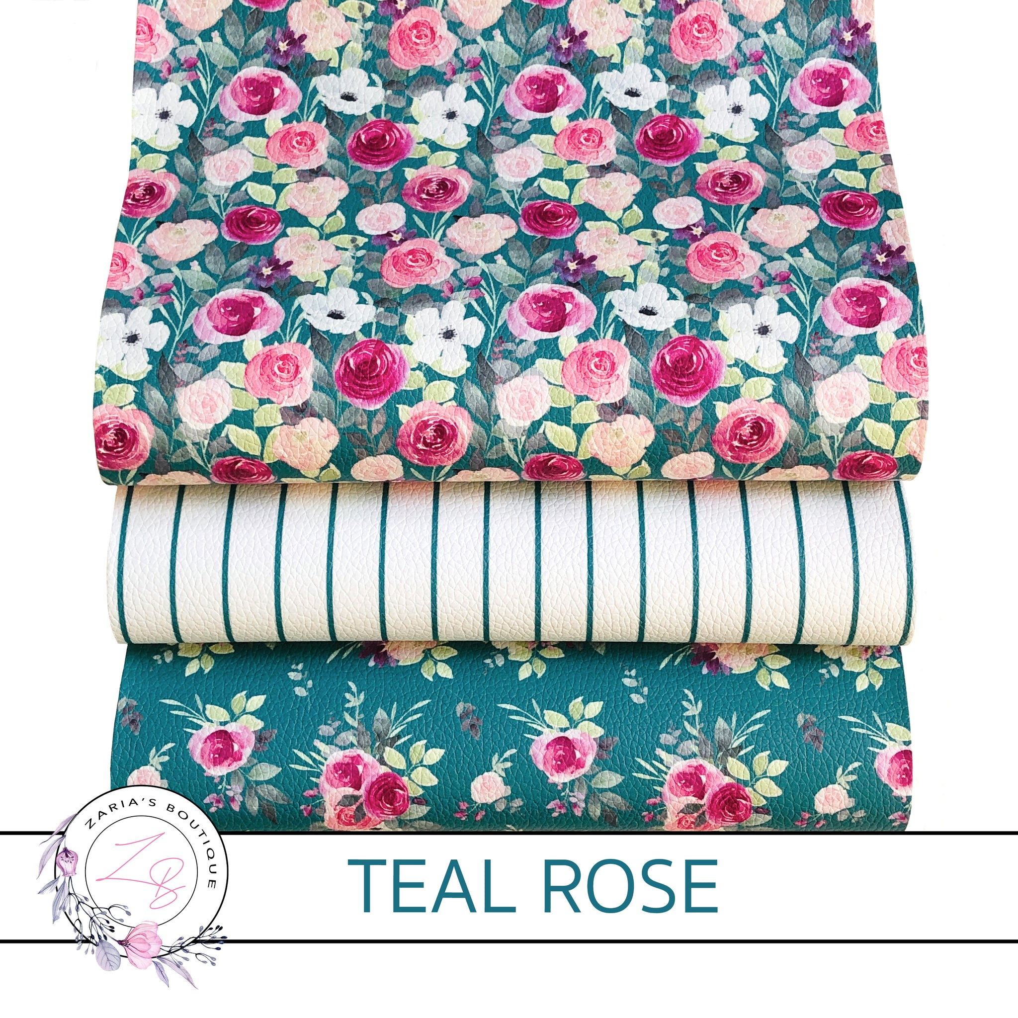 Custom Teal Rose Blooms Vegan Faux Leather Designer Multi-Pack or Single Sheets