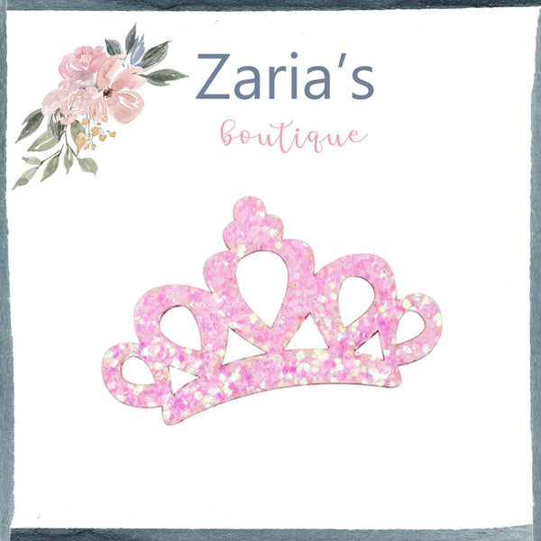 Princess Tiara Crown Glitter Embellishment ~ Pink