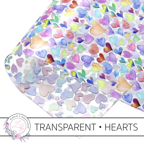 Watercolour Hearts • Transparent Faux Leather