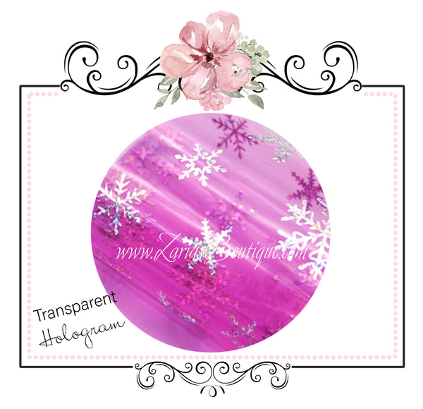 Transparent Hologram Snowflakes ~ Hot Pink & Silver ~ Bow Making ~ Craft Fabric Sheets