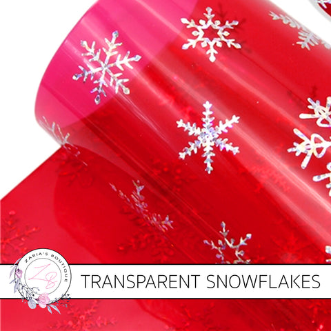 Transparent Hologram Snowflakes ~Christmas Red & Silver Craft Sheets