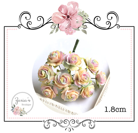 Mulberry Paper Flower ~ Unicorn Ruffled Roses ~ 18mm ~ 1.8cm x 10 pieces
