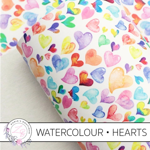 Watercolour Hearts • Smooth Vegan Faux Leather