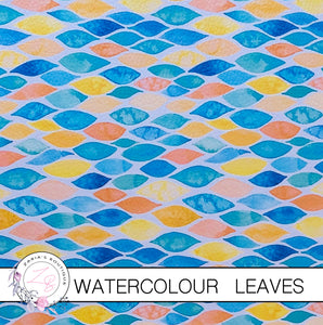 Watercolour Leaves ~ Faux Leather ~ 1mm