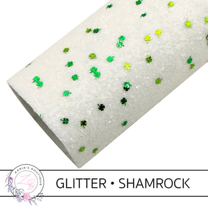 Chunky White Glitter • Green Sprinkle Shamrocks