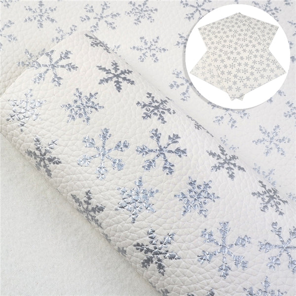 White Silver Foil Snowflake Leatherette ~ 1mm